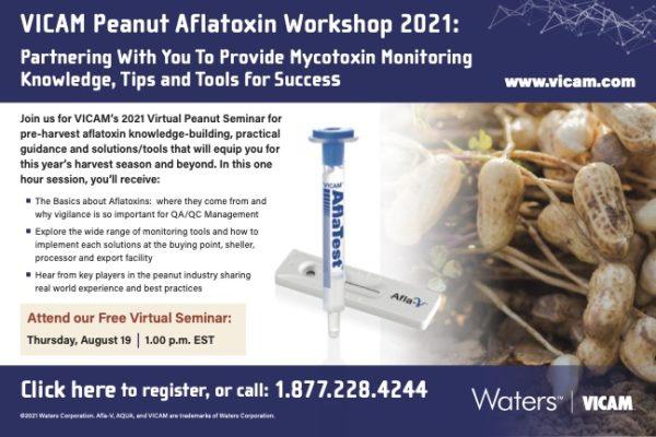 VICAM Webinar: Peanut Aflatoxin Workshop 2021 am Do. 19. August 2021 um 19.00 Uhr MEZ. Jetzt kostenlos anmelden!